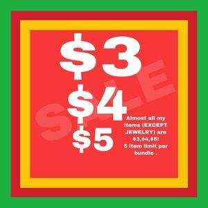 $5 SALE 5 ITEM LIMIT PER BUNDLE.